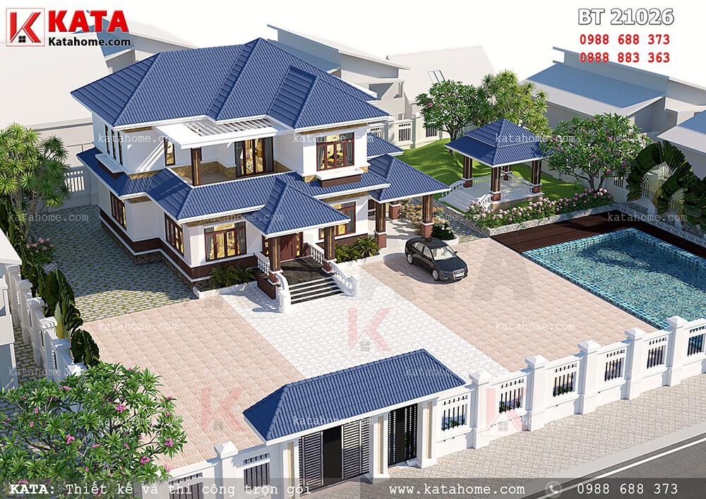 Phối cảnh tổng thể của mẫu thiết kế biệt thự 2 tầng đẹp khi nhìn từ trên cao xuống