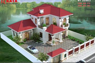 Phối cảnh tổng thể của biệt thự mini 2 tầng mái thái tại Bắc Ninh