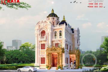 Hình ảnh: Chi tiết mặt tiền của mẫu biệt thự lâu đài 3 tầng kiến trúc Pháp tại Nam Định được trang trí với hệ thống hoa văn đẹp mắt
