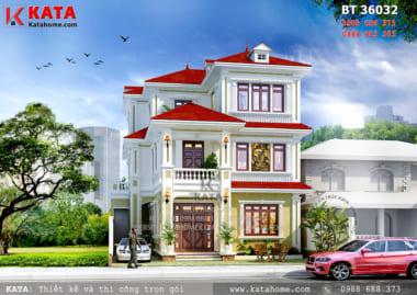 Phối cảnh 3D chi tiết của mẫu biệt thự kiểu Pháp 3 tầng tại Quảng Ninh - Mã số: BT 36032