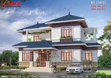 Phối cảnh 3D chi tiết của mẫu thiết kế biệt thự 2 tầng đẹp tại Vĩnh Phúc - Mã số: BT 21032