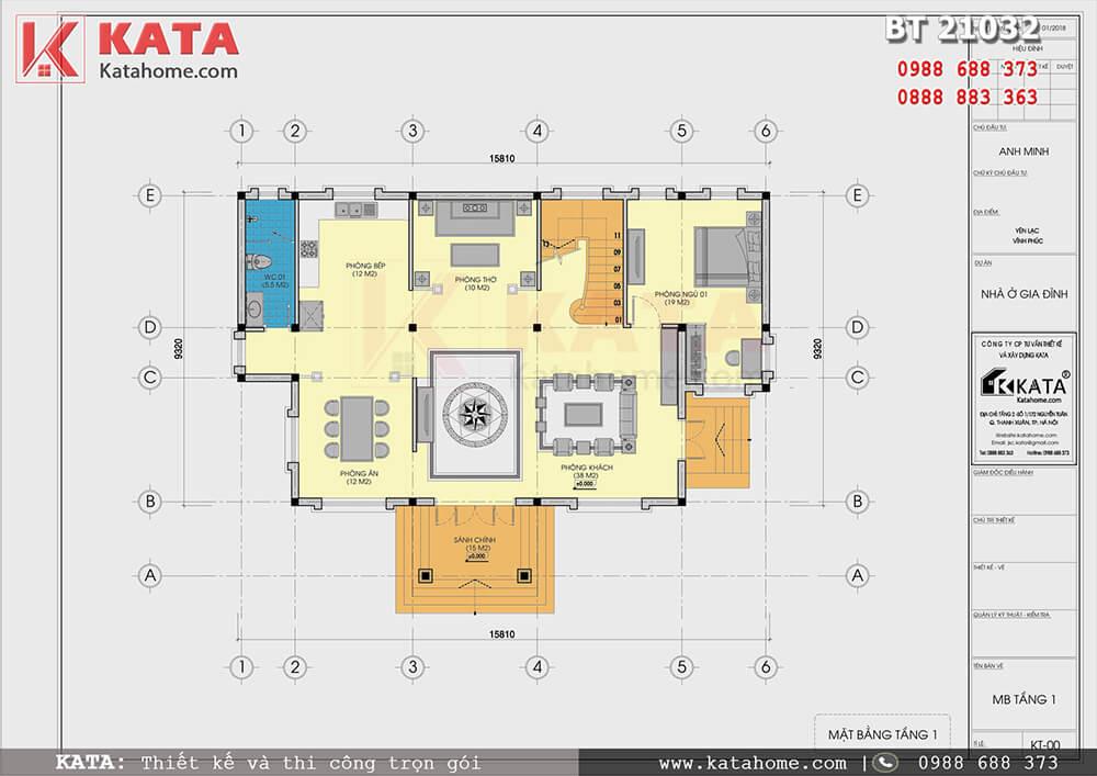 Mặt bằng công năng tầng 1 của mẫu thiết kế biệt thự 2 tầng đẹp - Mã số: BT 21032