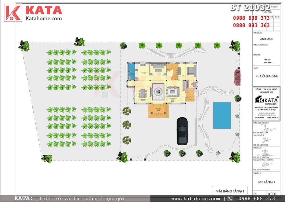 Mặt bằng tổng thể của mẫu thiết kế biệt thự 2 tầng đẹp tại Vĩnh Phúc - Mã số: BT 21032