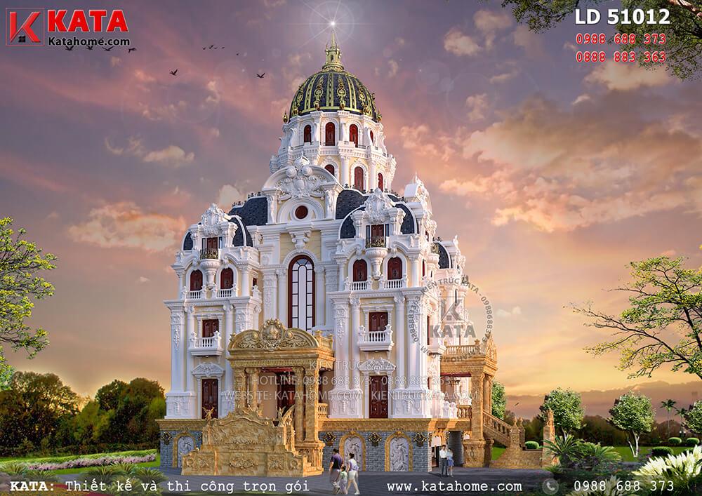Mẫu dinh thự lâu đài 5 tầng được thiết kế với hình khối kiến trúc nguy nga, hoành tráng