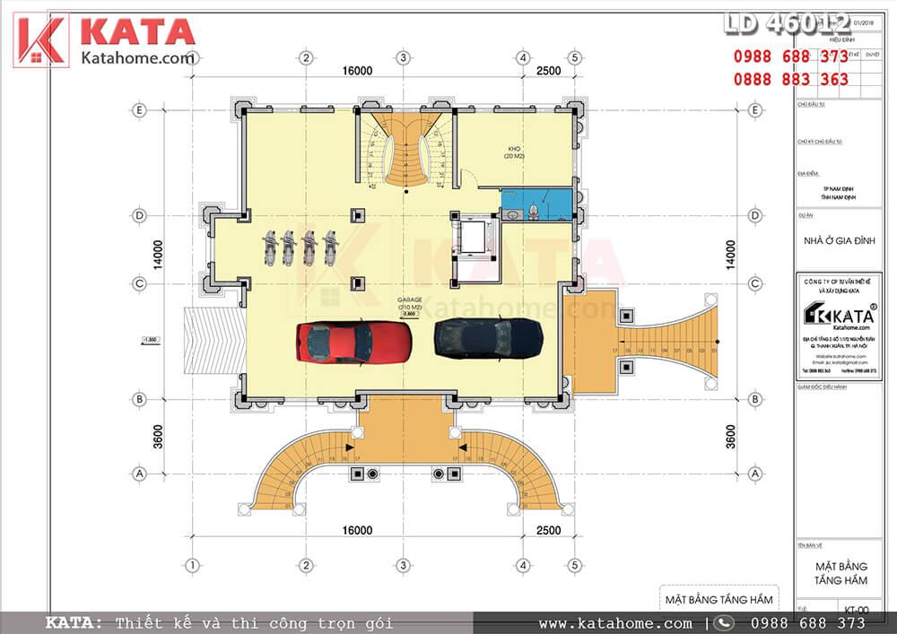 Mặt bằng công năng tầng hầm của mẫu biệt thự lâu đài cổ điển 4 tầng đẳng cấp tại Nam Định - Mã số: LD 46012