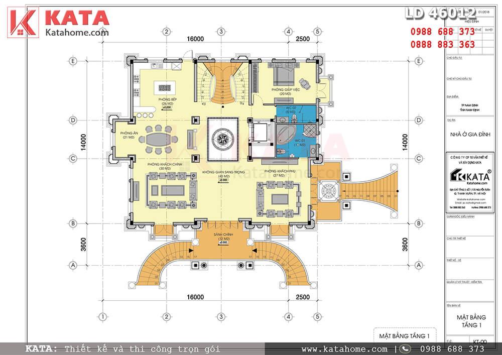 Mặt bằng tầng 1 mẫu biệt thự 4 tầng của mẫu biệt thự lâu đài cổ điển 4 tầng đẳng cấp tại Nam Định - Mã số: LD 46012