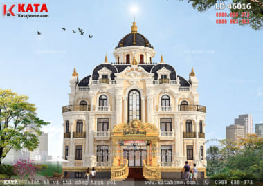 Phối cảnh 3D chi tiết của mẫu biệt thự lâu đài 3 tầng kiến trúc Pháp tại Hà Nội - Mã số: LD 46016