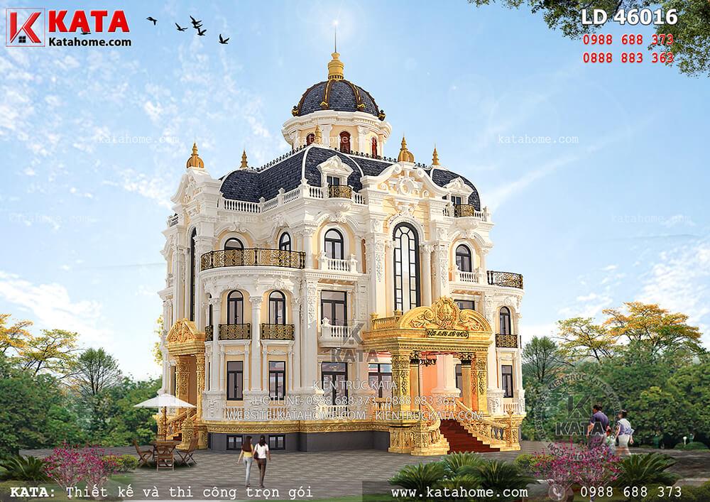 Hệ thống mái vòm, mái chóp, mái Mansard giúp tạo nên một tổng thể thiết kế mẫu biệt thự lâu đài 3 tầng kiến trúc Pháp cổ điển vô cùng hoàn hảo