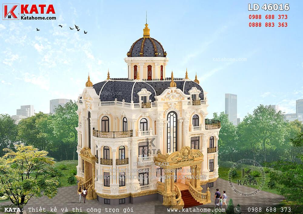 Mẫu biệt thự lâu đài 3 tầng kiến trúc Pháp tân cổ điển