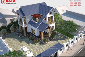 Tổng thể không gian ngoại thất của nhà biệt thự 2 tầng đẹp mái thái tại Hưng Yên