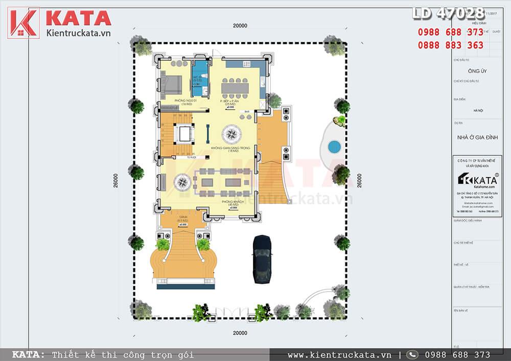 Mặt bằng tổng thể khuôn viên của mẫu thiết kế lâu đài 4 tầng cổ điển - Mã số: LD 47025