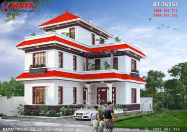 Phối cảnh mặt tiền của mẫu nhà biệt thự 2 tầng 1 tum mái Thái hiện đại - Mã số: BT 36057