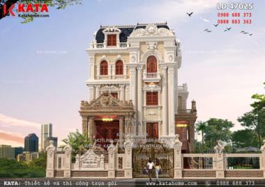 Phối cảnh mặt tiền mẫu thiết kế lâu đài 4 tầng cổ điển đẹp tại Hải Dương