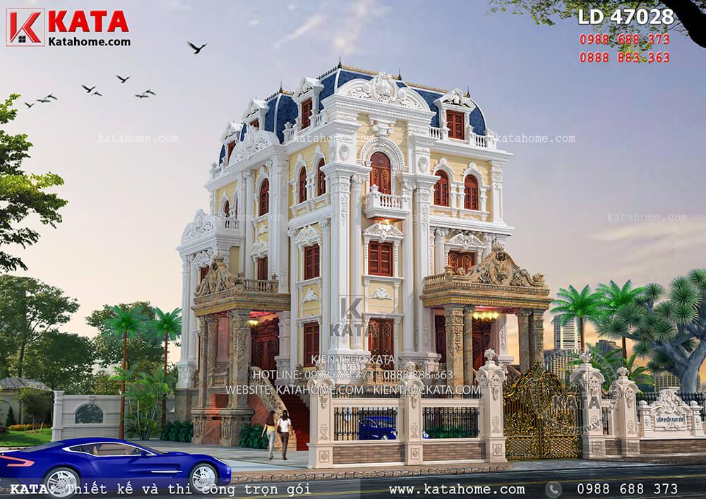 Bản vẽ lâu đài 4 tầng tân cổ điển đẹp tại Hà Nội – Mã số: LD 47028