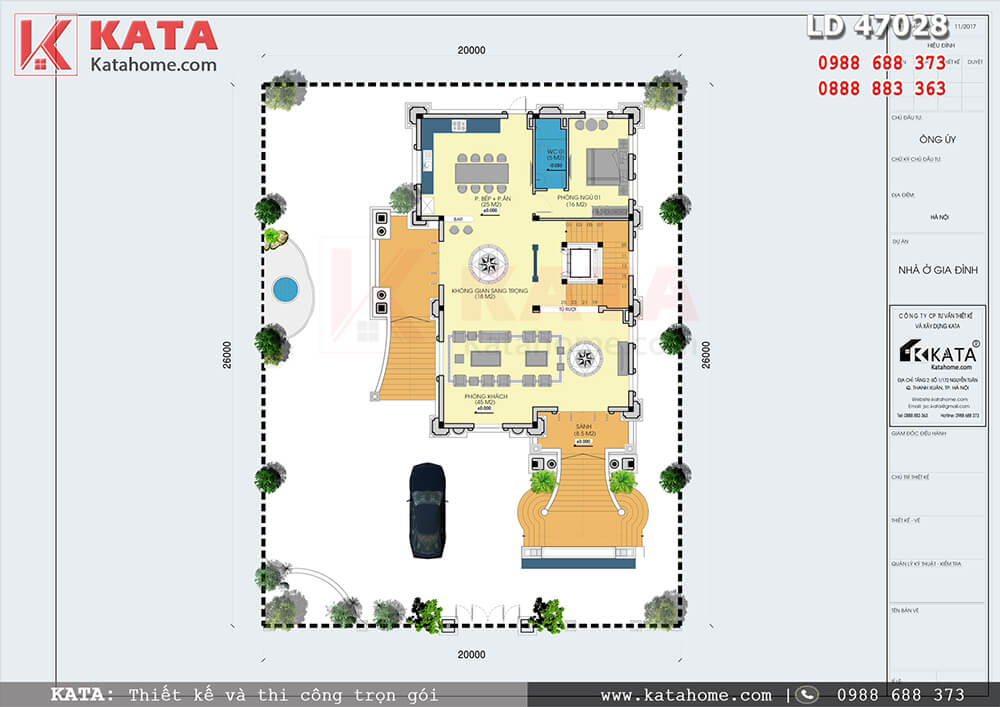 Mặt bằng tổng thể mẫu thiết kế biệt thự 4 tầng tân cổ điển - Mã số: LD 47028