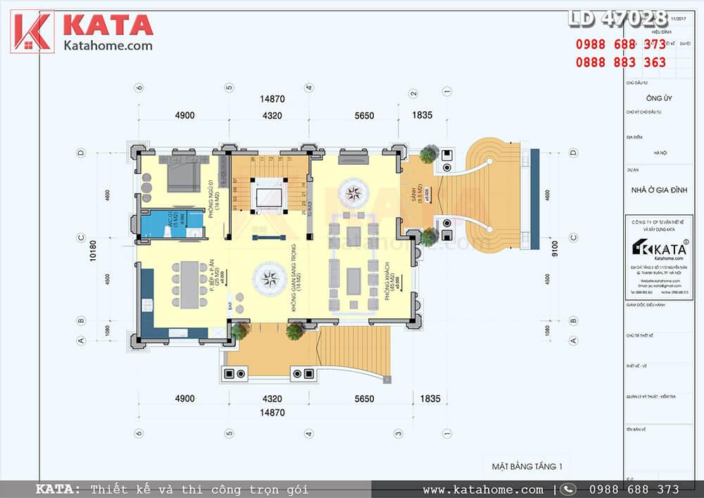 Mặt bằng tầng 1 của mẫu thiết kế biệt thự 4 tầng tân cổ điển - Mã số: LD 47028
