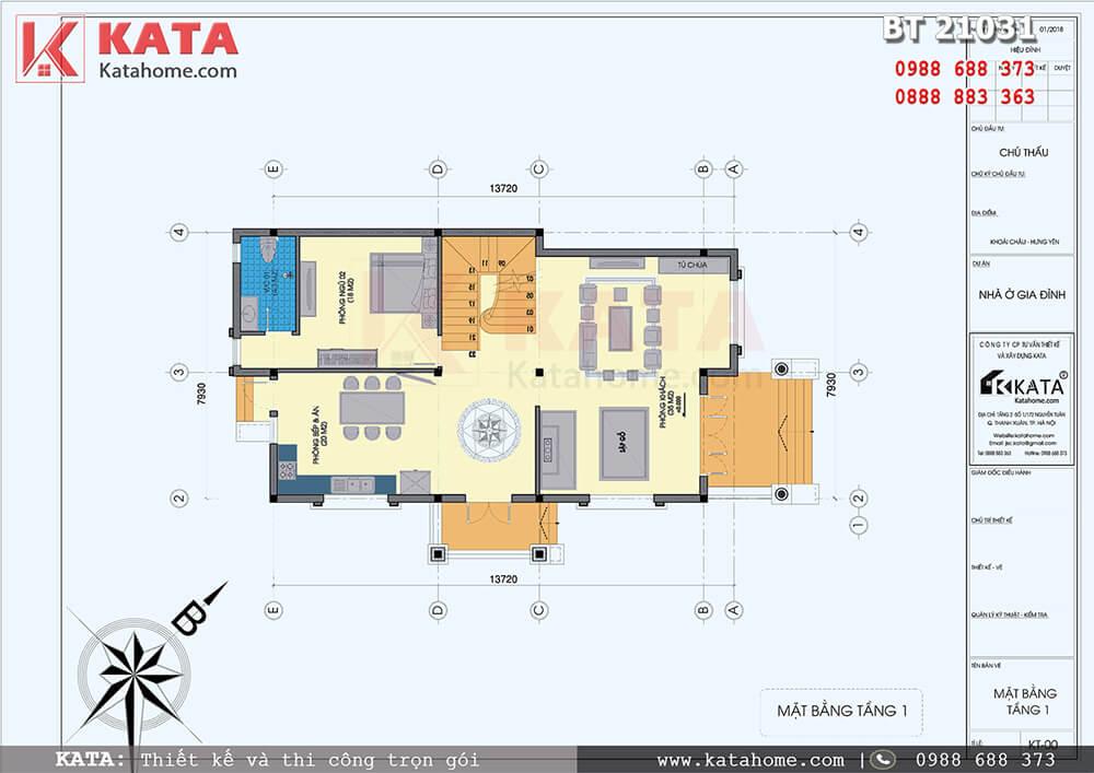 Mặt bằng công năng tầng 1 của mẫu biệt thự 2 tầng kiểu Pháp kết hợp sân vườn - Mã số: BT 21031