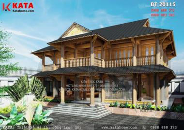 Mẫu thiết kế nhà sàn bằng gỗ 2 tầng đẹp BT 20115-01