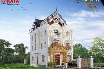 Bản vẽ thiết kế biệt thự 3 tầng tân cổ điển đẹp BT 37022