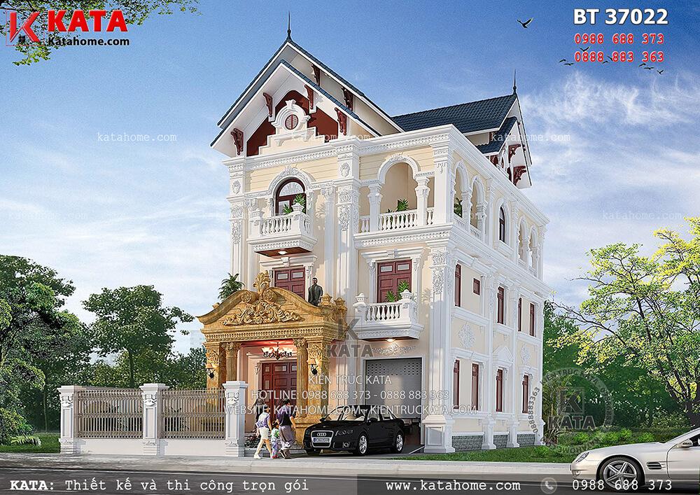 Bản vẽ thiết kế biệt thự 3 tầng kiến trúc Pháp tân cổ điển – Mã số: BT 37022