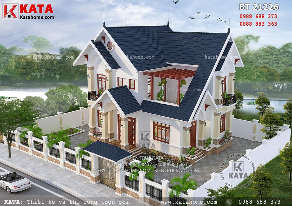 Không gian tổng thể mặt bằng mẫu biệt thự nhà vườn 2 tầng mái Thái đẹp tại Hưng Yên - Mã số: BT 21226