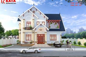 Tổng quan phối cảnh 3D chi tiết của mẫu biệt thự nhà vườn 2 tầng mái Thái đẹp tại Hưng Yên - Mã số: BT 21226