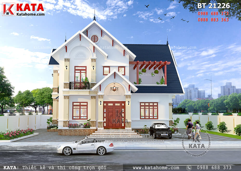 Mẫu biệt thự nhà vườn 2 tầng mái Thái đẹp tại Hưng Yên – Mã số: BT 21226