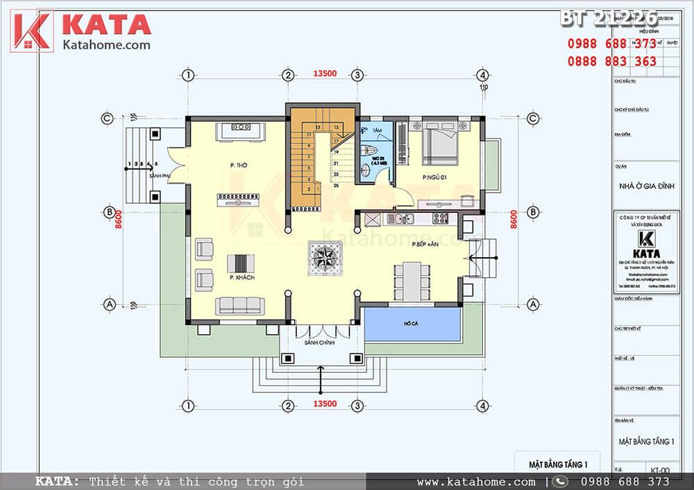 Mặt bằng công năng chi tiết của mẫu thiết kế biệt thự nhà vườn 2 tầng mái Thái - Mã số: BT 21226