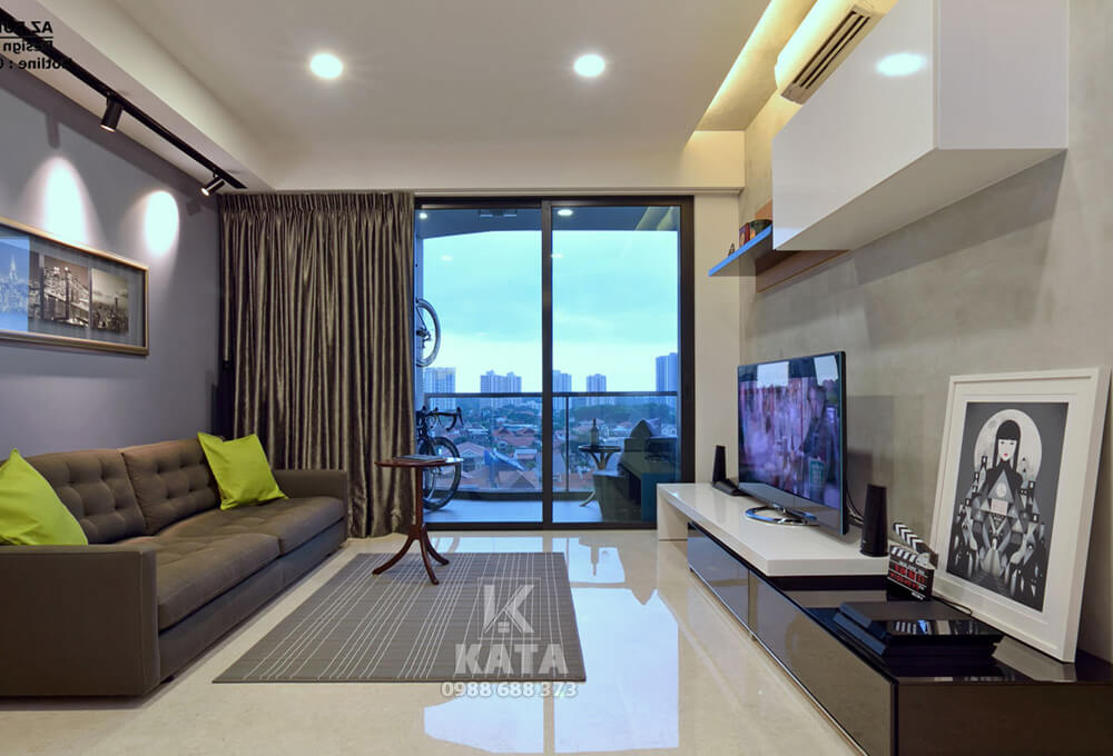 Không gian phòng khách đẹp chung cư với hệ thống cửa sổ giúp gia chủ có thể ngắm trọn cảnh sắc bên ngoài