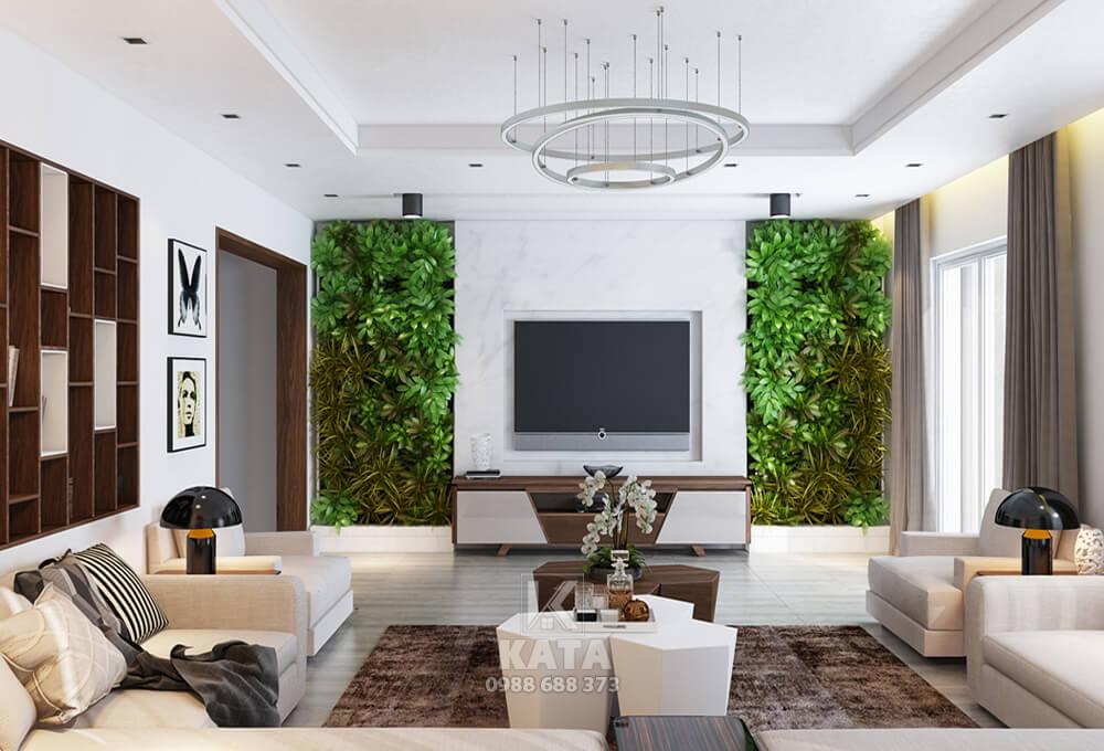 Mẫu phòng khách được thiết kế mang một không gian vô cùng xanh mát