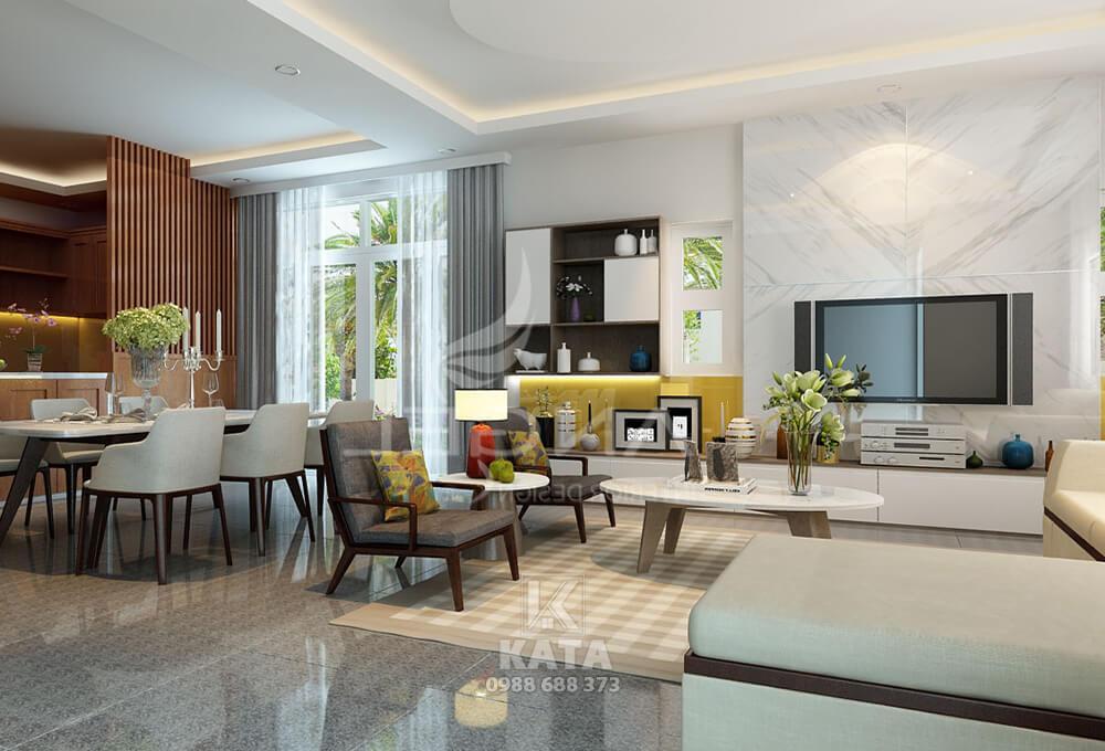 Không gian nội thất phòng khách đẹp đơn giản khiến cho căn phòng thêm phần rộng rãi