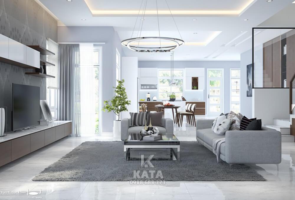 Đơn giản và tối giản chính là vũ khí tạo nên điểm nhấn cho không gian phòng khách đẹp mang phong cách kiến trúc hiện đại