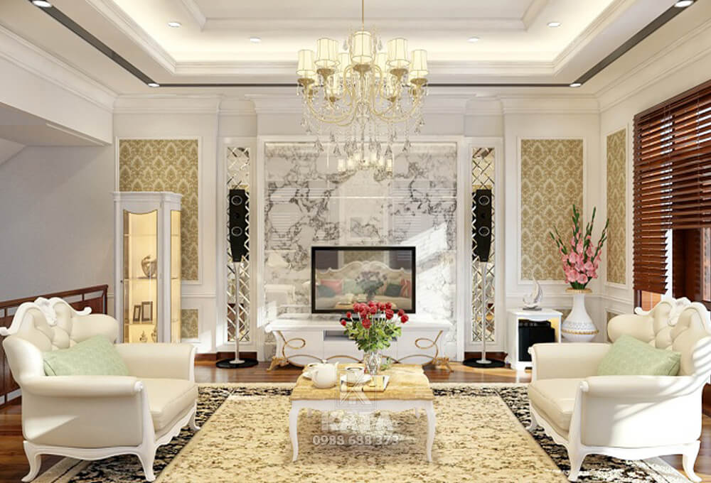 Cầu kỳ, xa hoa cùng mẫu phòng khách đẹp được thiết kế vô cùng sinh động với phong cách kiến trúc tân cổ điển