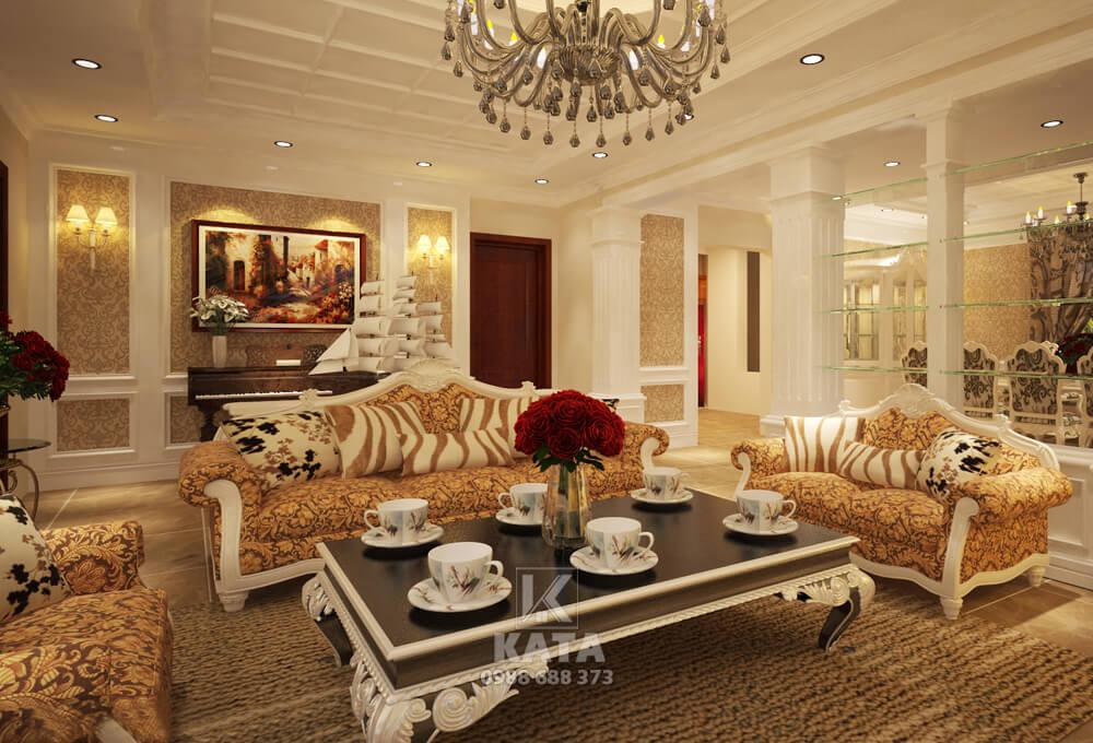 Mẫu phòng khách đẹp tân cổ điển