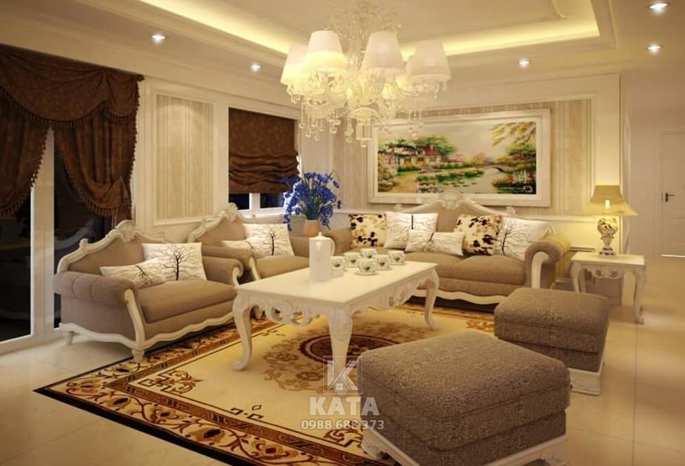 Thiết kế nội thất phòng khách đẹp phong cách kiến trúc tân cổ điển cho căn biệt thự