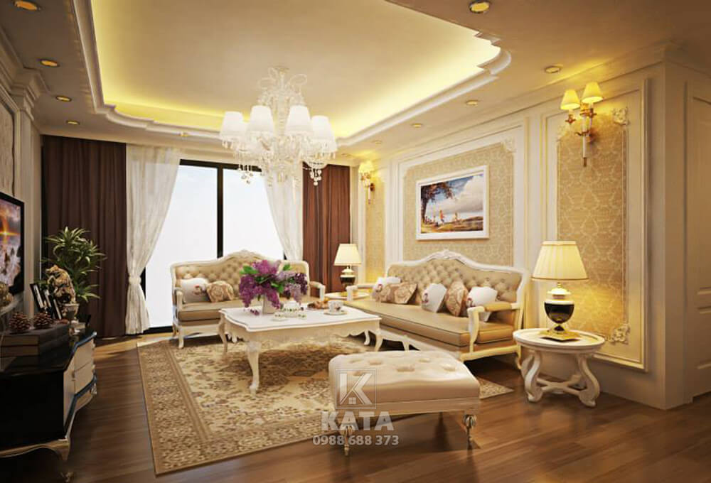 Với phong cách kiến trúc tân cổ điển đã làm toát lên vẻ đẹp sang trọng, quý phái cho không gian phòng khách