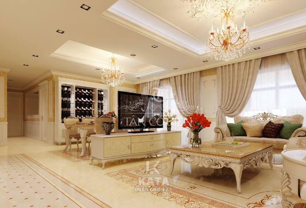 Với vẻ đẹp của phong cách kiến trúc tân cổ điển sẽ làm toát lên vẻ sang trọng, quý phái cho không gian nội thất phòng khách đẹp