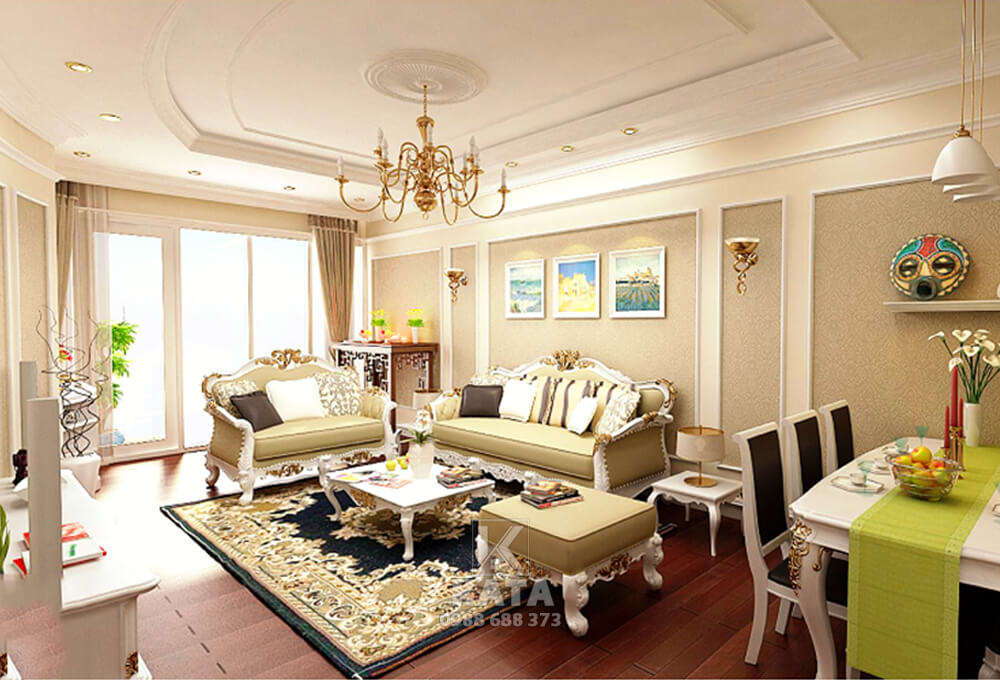 Không gian phòng khách tân cổ điển được thiết kế mang giúp mang lại một cảm giác ấm cúng, tiện nghi