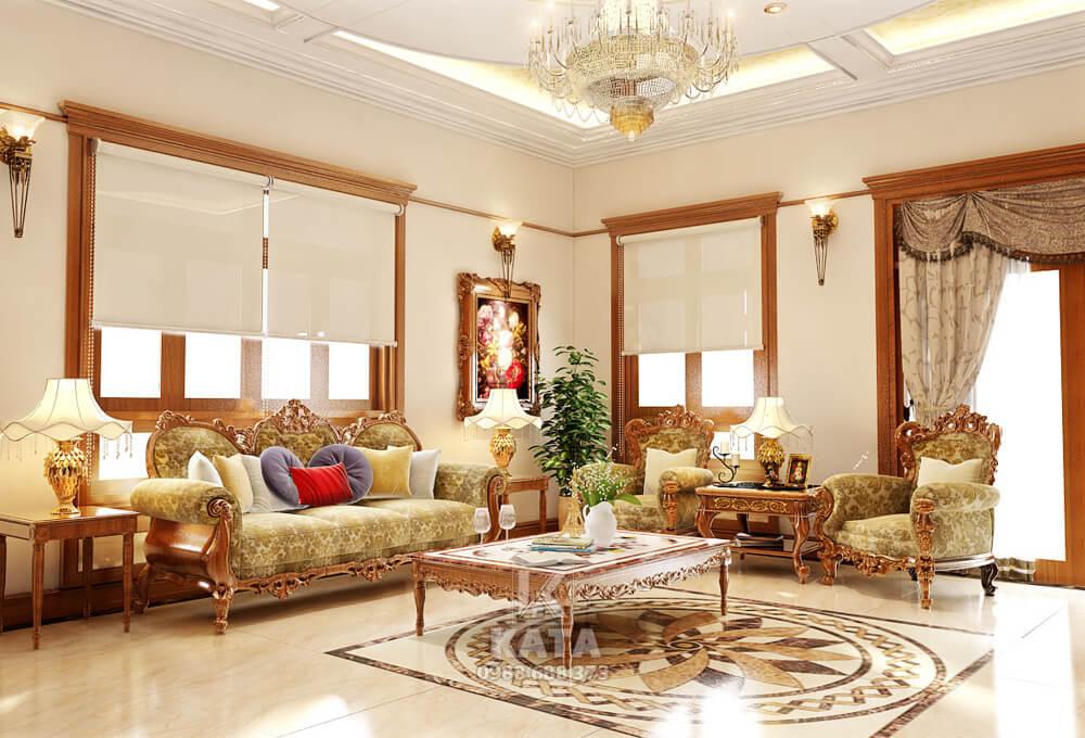 Mẫu trang trí phòng khách đẹp mang không gian kiến trúc tân cổ điển