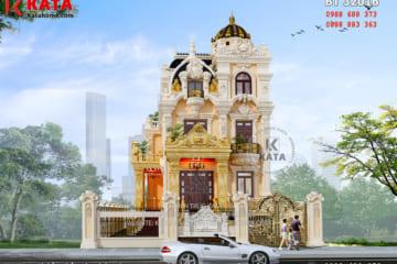 Phối cảnh mặt tiền của mẫu thiết kế biệt thự kiểu lâu đài 3 tầng tân cổ điển tại Thanh Hóa - Mã số: BT 32016