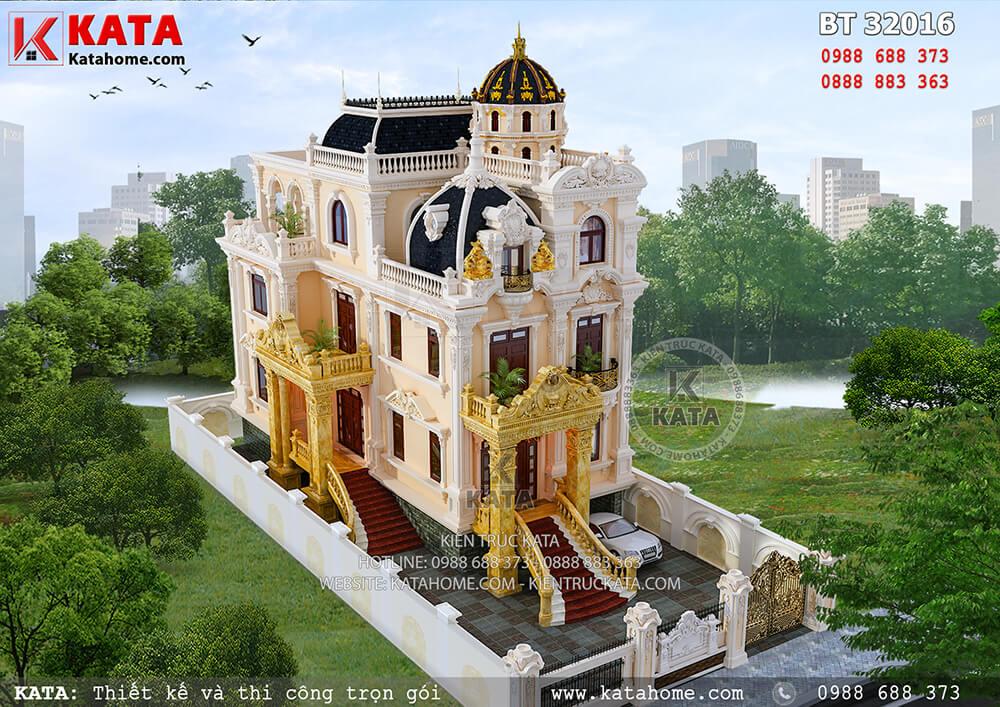 Tổng thể mẫu thiết kế biệt thự kiểu lâu đài 3 tầng vô cùng hoàn hảo