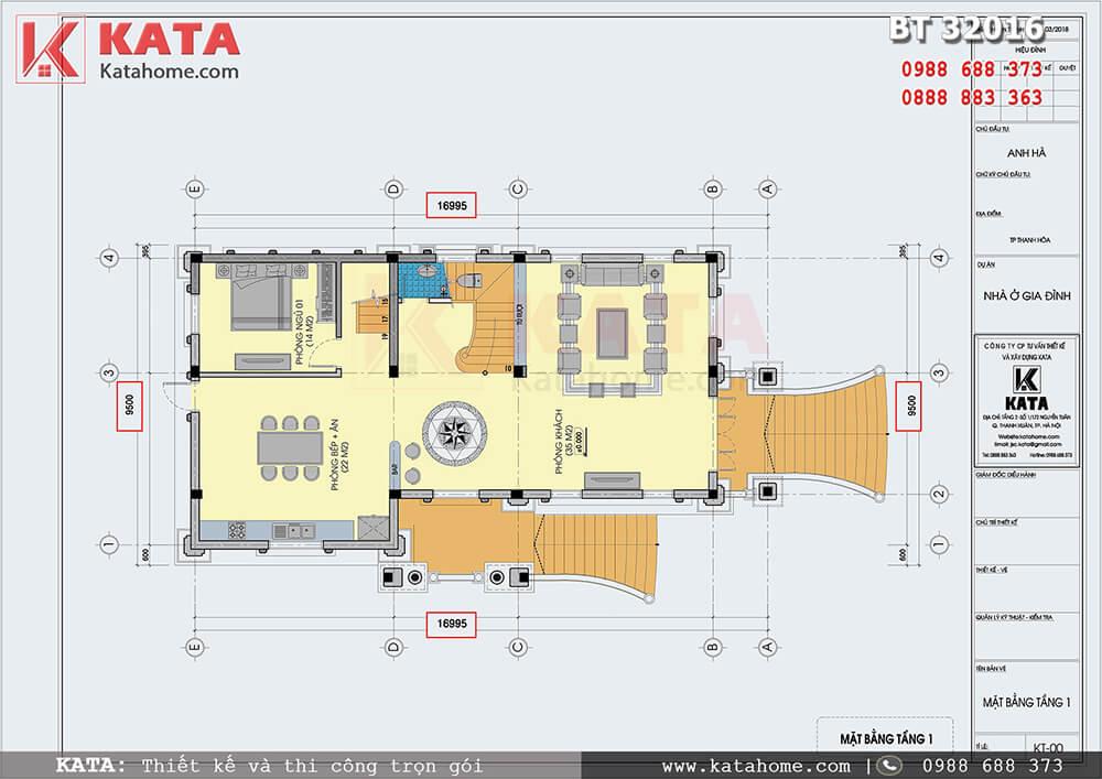 Mặt bằng bản vẽ chi tiết Tầng 1 biệt thự lâu đài 3 tầng - Mã số: BT 32016