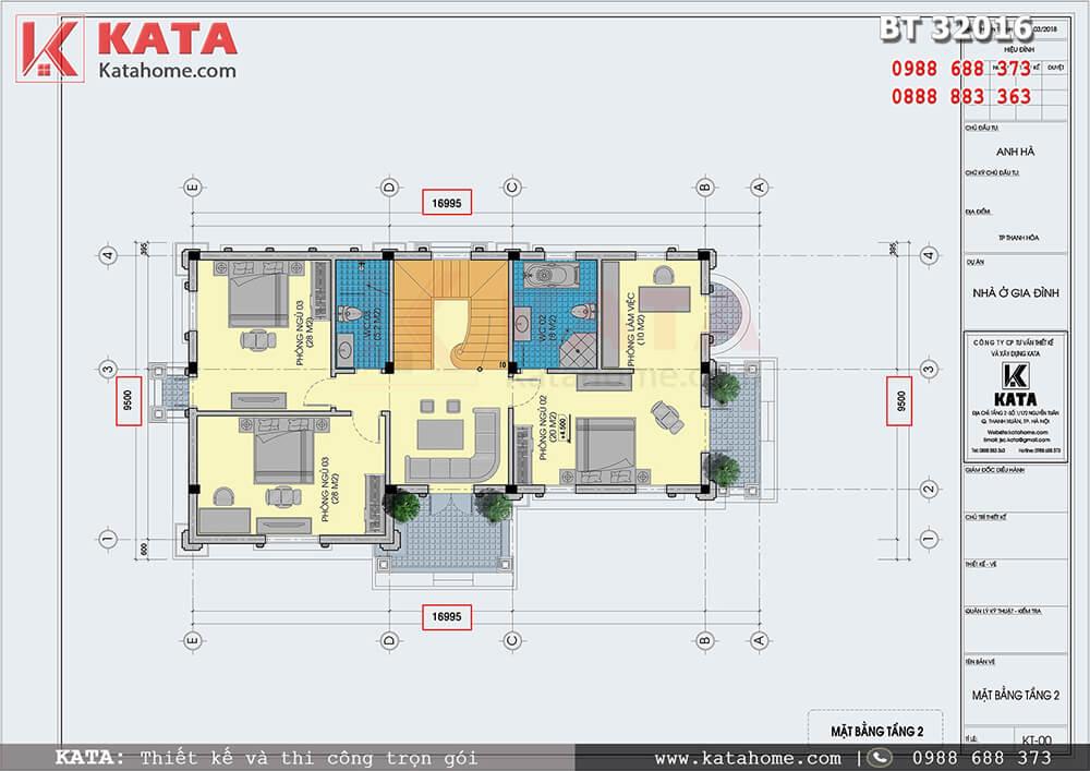 Mặt bằng bản vẽ chi tiết Tầng 2 biệt thự lâu đài 3 tầng - Mã số: BT 32016
