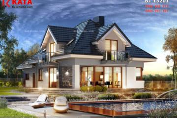 Bản thiết kế mẫu biệt thự nhà vườn 2 tầng với hệ thống mái và sân vườn thật sự ấn tượng!