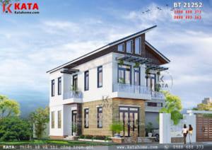 Thiết kế nhà 2 tầng có gác lửng mái chéo tại Hà Nam - Mã số: BT 21252