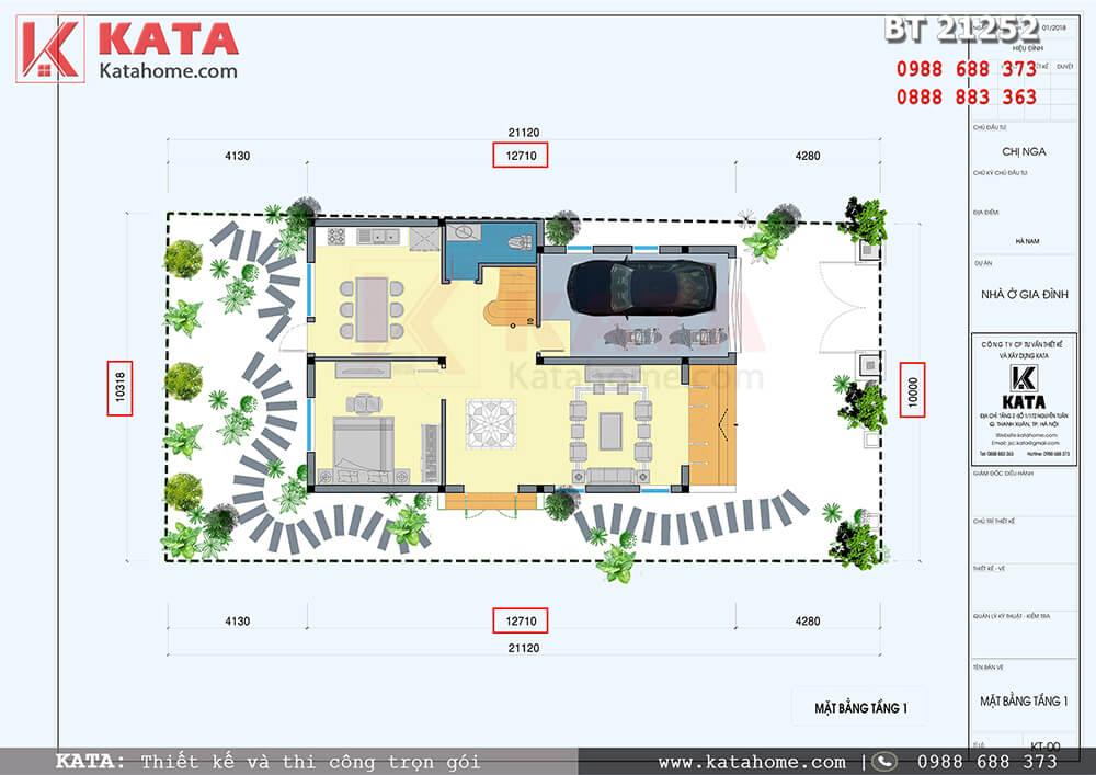 Mặt bằng công năng tầng 1 của bản thiết kế nhà 2 tầng có gác lửng mái chéo tại Hà Nam