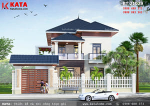 Phối cảnh 3D chi tiết của mẫu nhà 2 tầng mái Thái đơn giản tại Hà Tĩnh - Mã số: BT 21029