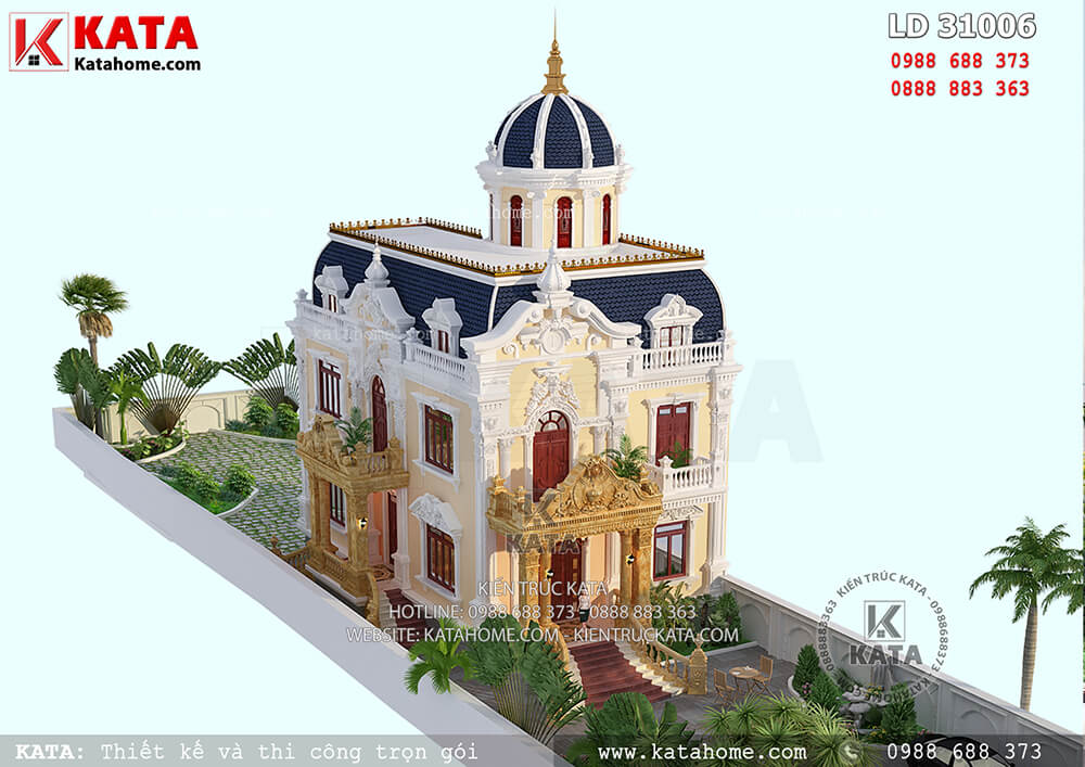 Hệ thống sân vườn đã giúp cho tổng thể mẫu biệt thự lâu đài 2 tầng cổ điển trở nên vô cùng đẳng cấp