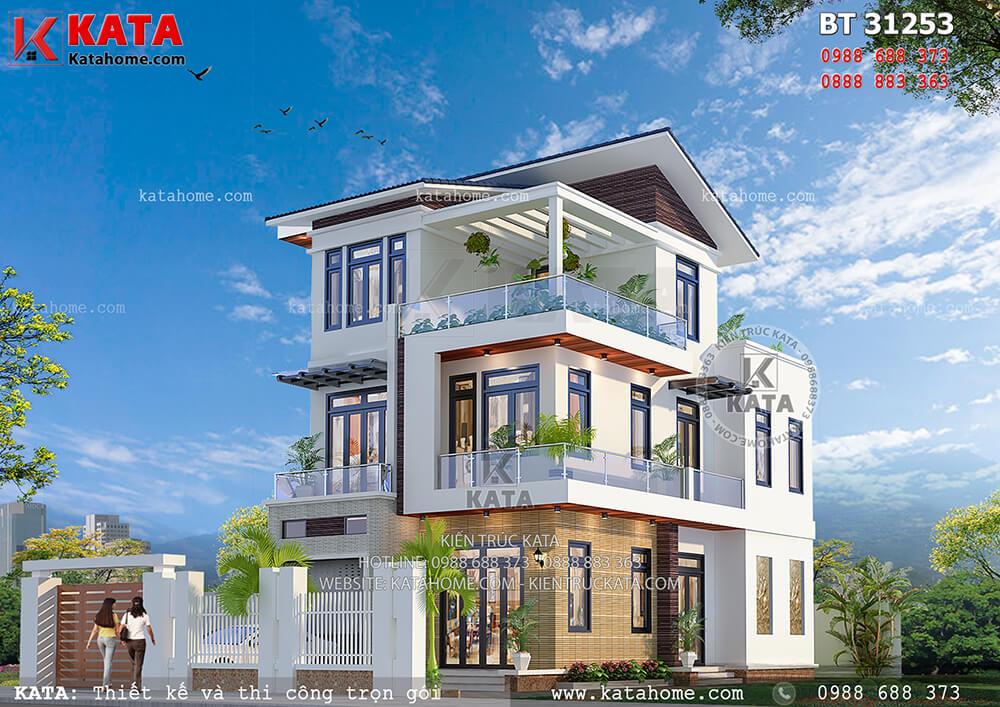 Mẫu nhà 3 tầng mái chéo kiến trúc hiện đại – Mã số: BT 31253