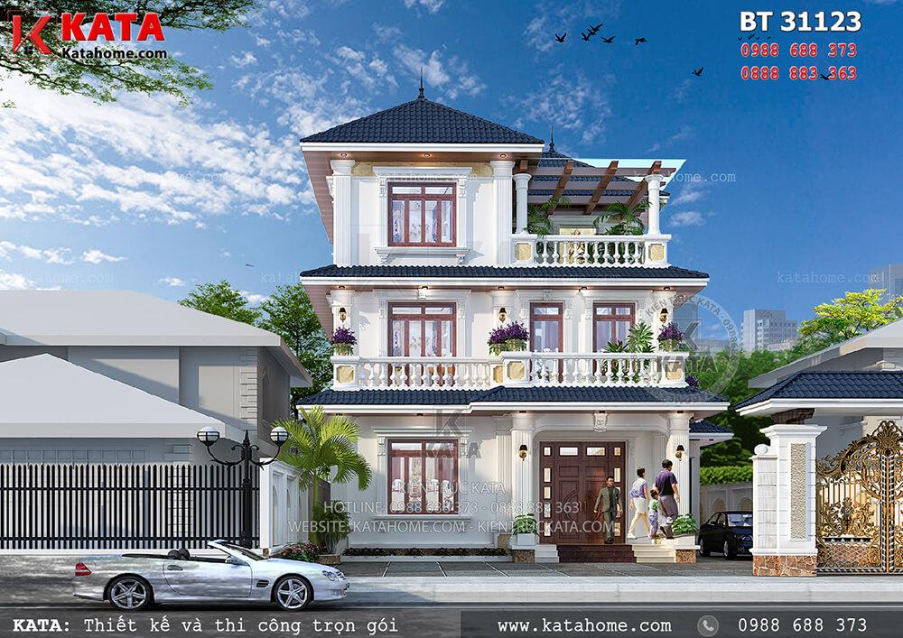 Phối cảnh 3D chi tiết của mẫu nhà 3 tầng mái Thái tại Đồng Nai - Mã số: BT 31123